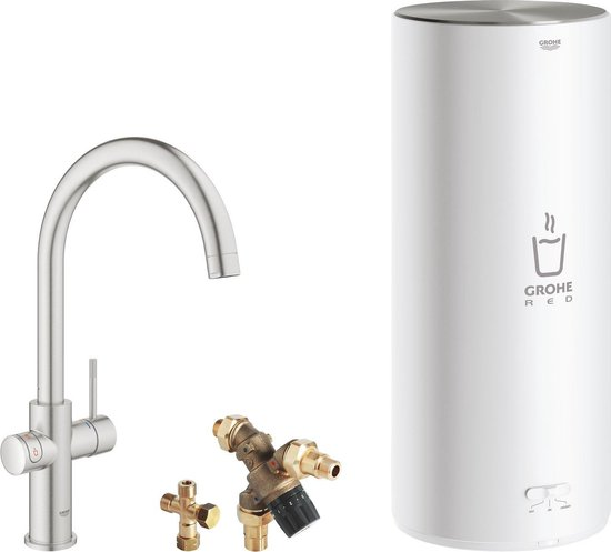 GROHE Red 3IN1 kokendwaterkraan - C Uitloop - 7L boiler - mengventiel – RVS (supersteel)