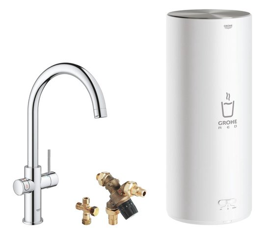 GROHE Red 3IN1 kokendwaterkraan - C Uitloop - 7L boiler - mengventiel - chroom