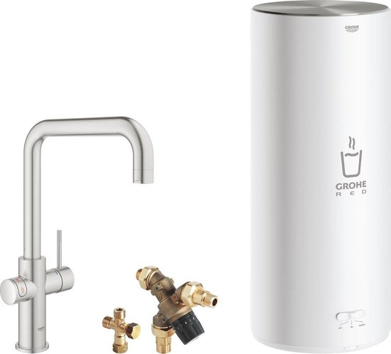 GROHE Red 3IN1 kokendwaterkraan - U uitloop - 7L boiler - met mengventiel – RVS (supersteel)