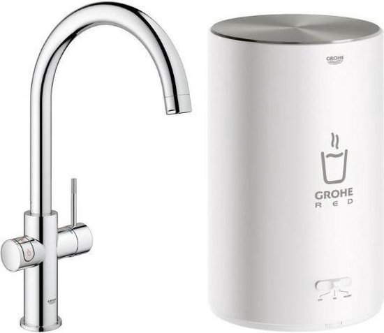 GROHE Red Compact 3IN1 kokendwaterkraan - C uitloop - 4L boiler - Chroom